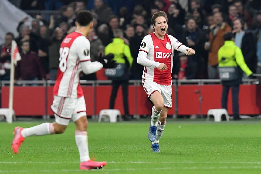Carel Eiting of Ajax Amsterdam celebrating his goal in a Europa League match against Getafe at the Johan Cruyff Arena in February. The Dutch football federation is proposing the cancellation of the rest of the domestic season, with Ajax leading AZ Al