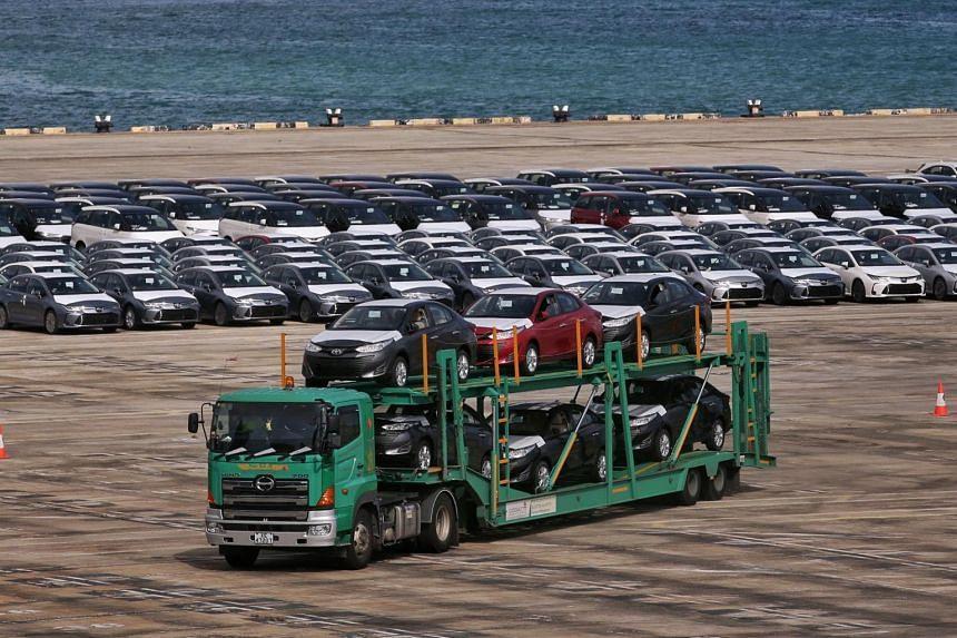 Rows of cars being moved at Tanjong Pagar Terminal on April 22, 2020.