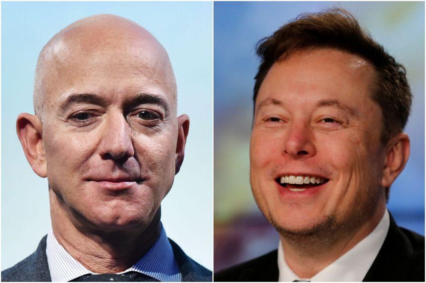 Amazon founder Jeff Bezos (left) and Tesla chief Elon Musk.