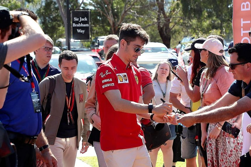 Ferrari driver Charles Leclerc meeting fans upon arrival at the Melbourne track last month. The Australian race was scrapped before practice even began. For now, the season will begin in late June at the earliest.