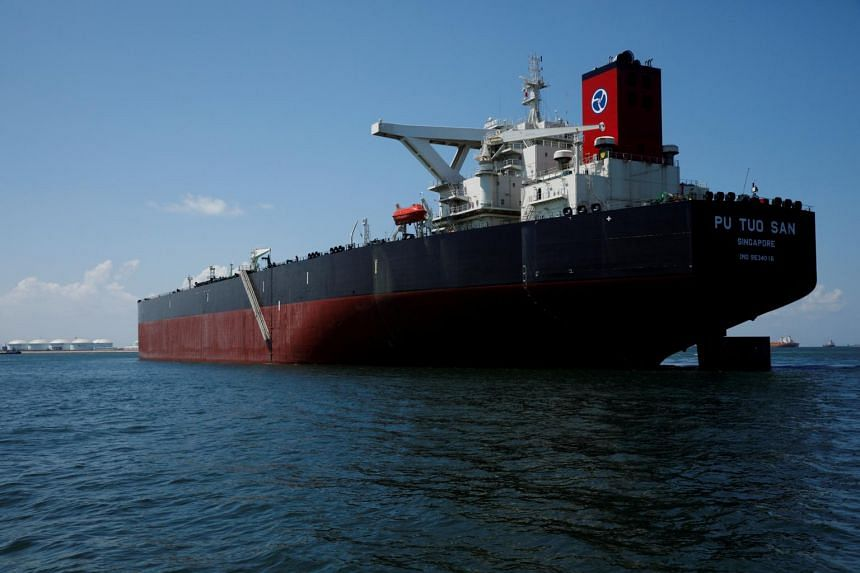 Hin Leong's Pu Tuo San VLCC supertanker in the waters off Jurong Island in Singapore.