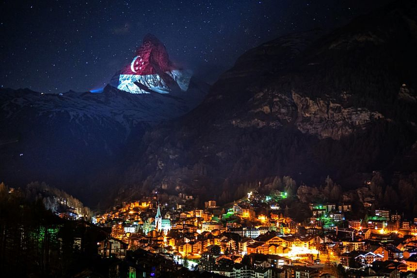 The famous Matterhorn mountain has been illuminated with different national flags and other symbols since March 24, 2020.