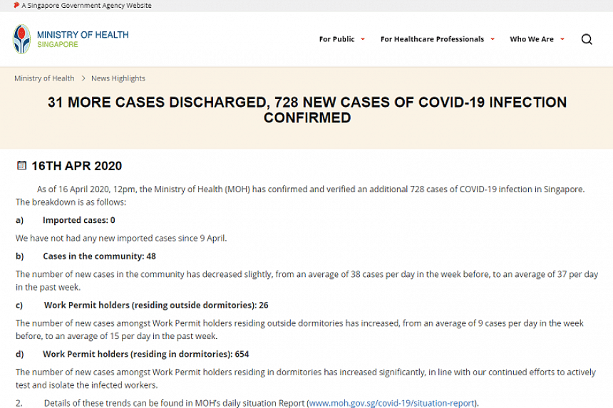 The number of daily confirmed Covid-19 cases in Singapore for April 16 had been leaked on Instagram before MOH officially released the figure.
