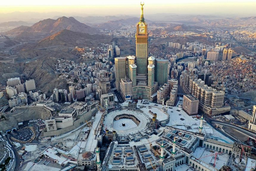 An aerial view shows the Great Mosque and the Mecca Tower, taken on April 24, 2020. Flogging has been applied to punish a variety of crimes in Saudi Arabia.