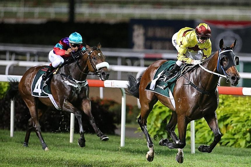 Hong Kong's Southern Legend romping to back-to-back Kranji Mile success last year. His bid for a hat-trick was dashed as this year's race, now postponed, will be limited to only Singapore-based horses.