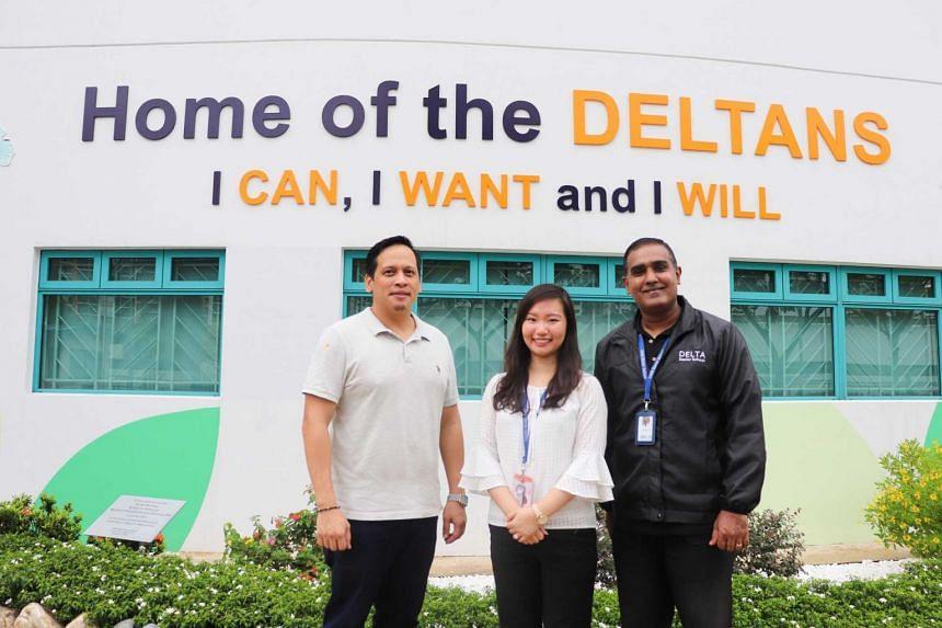 From left: Mr Saez, Miss Goh and APSN Delta Senior School's principal Mr Subash Lazar.
