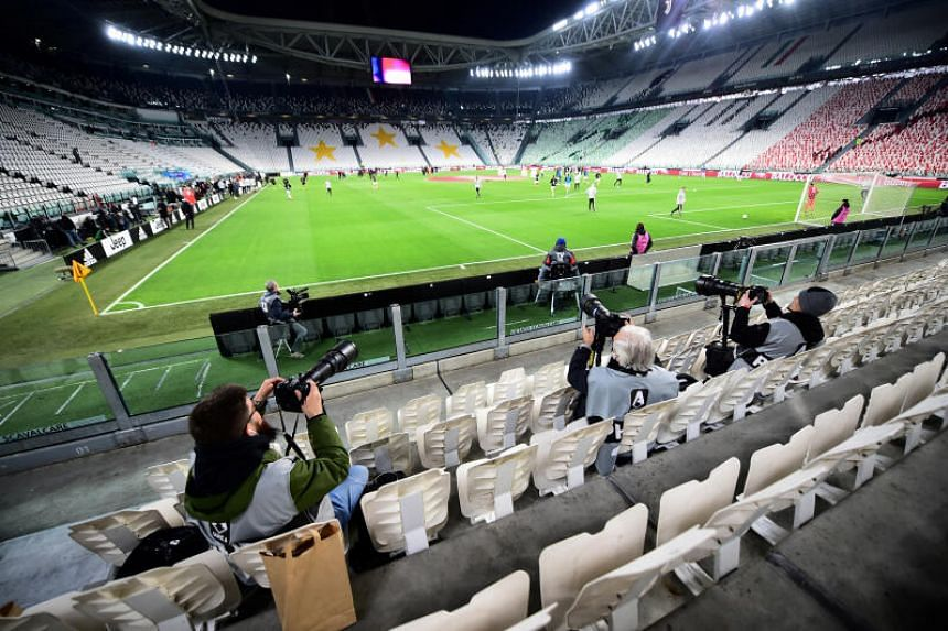 A Serie A football match between Juventus and Inter Milan is played behind closed doors on March 8, 2020.