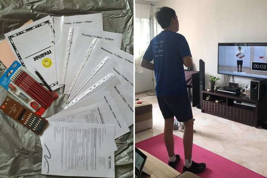 Touch Centre for Independent Living provides home-based training kits with worksheets for those who cannot attend the centre's online sessions. PHOTO: TOUCH COMMUNITY SERVICES Left: Caleb, a client at Eden Centre for Adults, exercising with the help