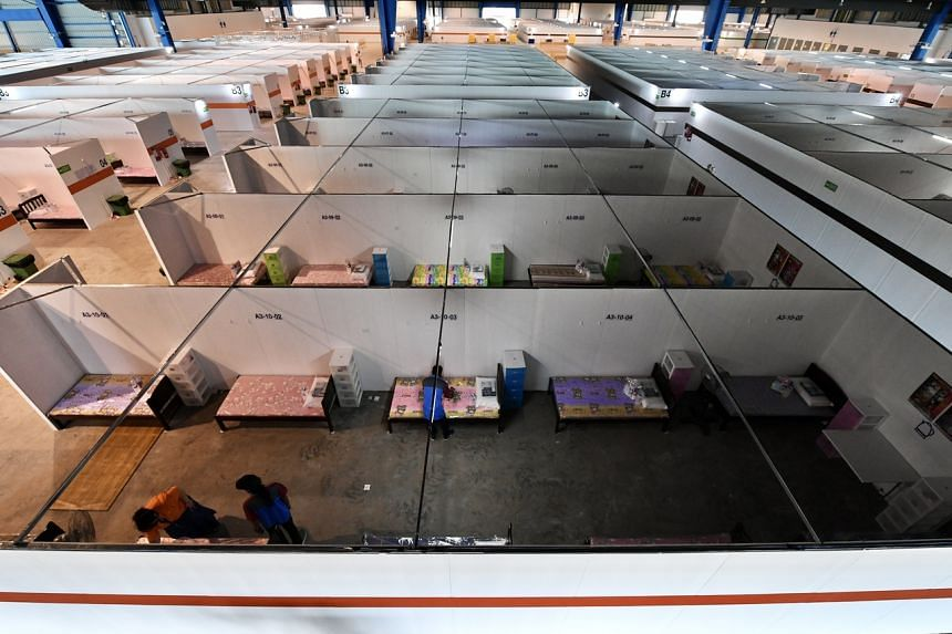 The community isolation facility at the Changi Exhibition Centre.