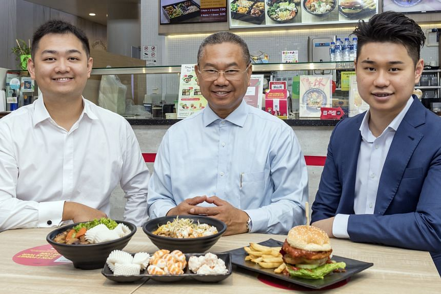 (From left) Growthwell Group's executive director Justin Chou, managing director Chou Shih Hsin and commercial director Colin Chou. The plant-based meat-maker plans to set up an R&D centre here.