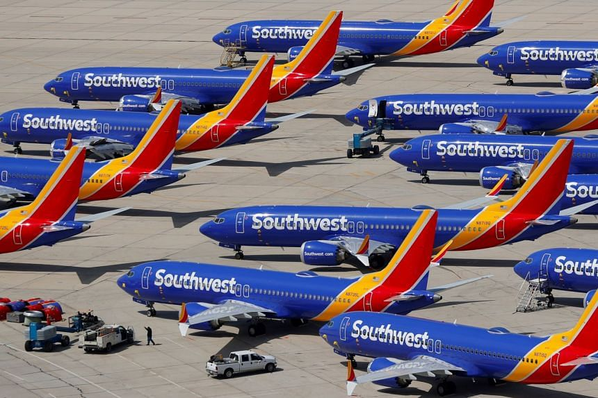 Grounded Southwest Airlines Boeing 737 MAX 8 aircraft are shown parked in Victorville, California.