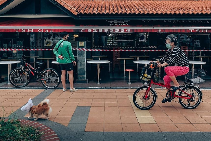A pet dog, with its head shielded with netting, and its owner in Toa Payoh on Monday. All 14 Covid-19 deaths in Singapore involved people aged 64 to 95, showing just how vulnerable older people are to the disease. ST PHOTO: GAVIN FOO