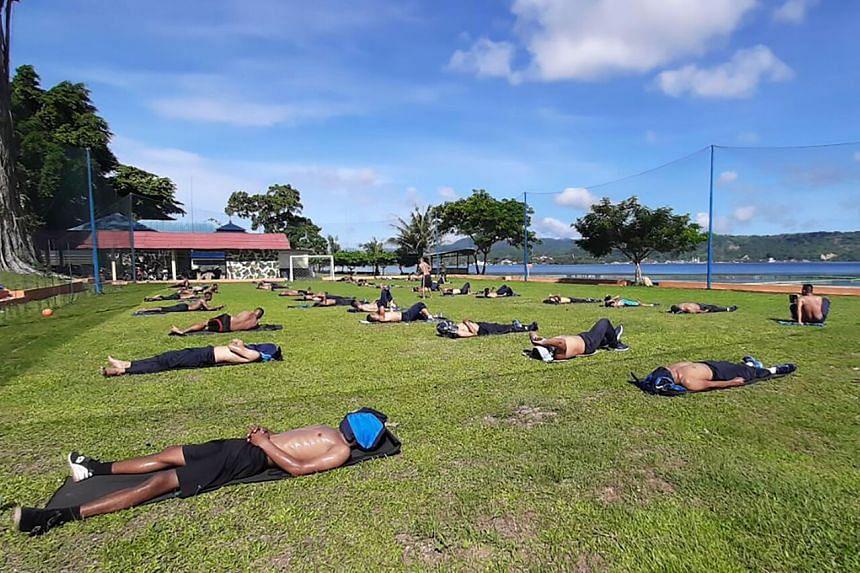 Indonesian Marines basking in the sun in Ambon, Maluku.