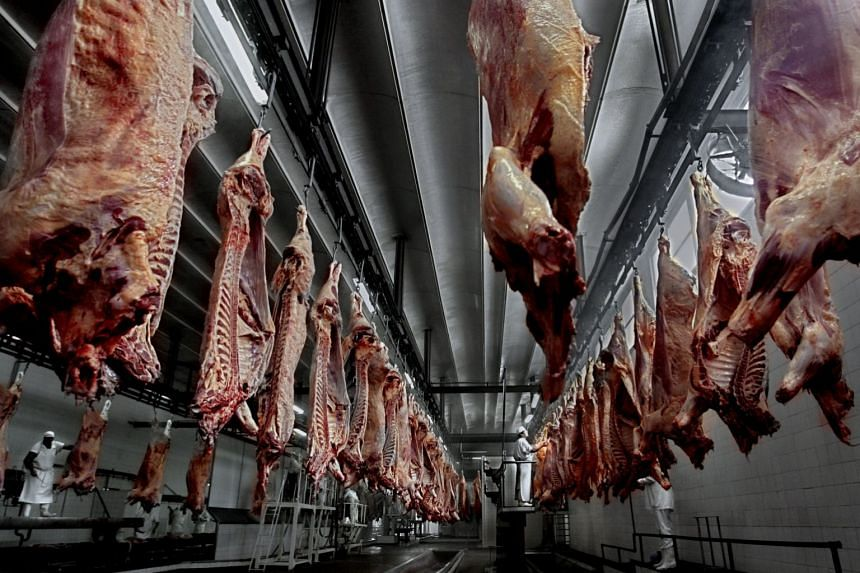 A 2017 general photo showing meat carcasses at a slaughterhouse.