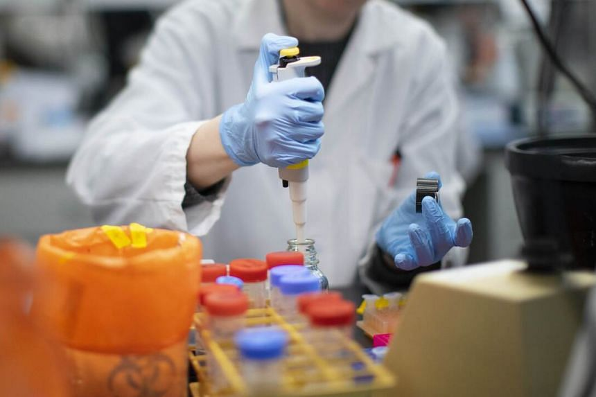 A researcher works in a lab that is developing testing for the coronavirus, on Feb 28, 2020, in New Jersey.