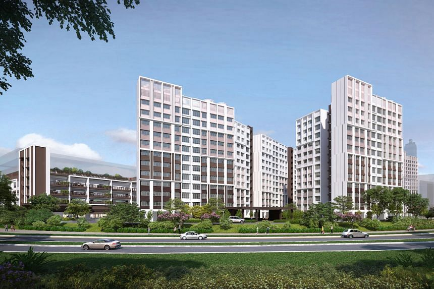 Above: A mock-up of an assisted living flat for seniors. About 160 of such flats for seniors in Bukit Batok were supposed to be launched next month, but this has been deferred. Left: An artist's impression of Tampines GreenSpring, which was launched