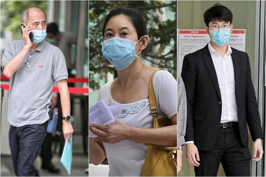 (From left) Ong Chong Kiat, Jin Yin and Tay Chun Hsien have appeared in court over Covid-19-related offences.