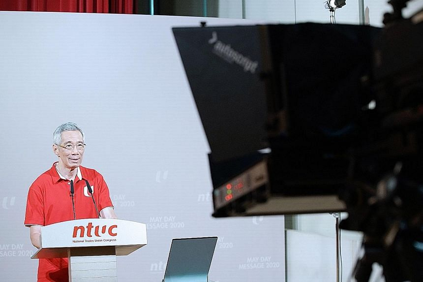 Prime Minister Lee Hsien Loong delivering his May Day message, which was televised last night. PHOTO: MCI