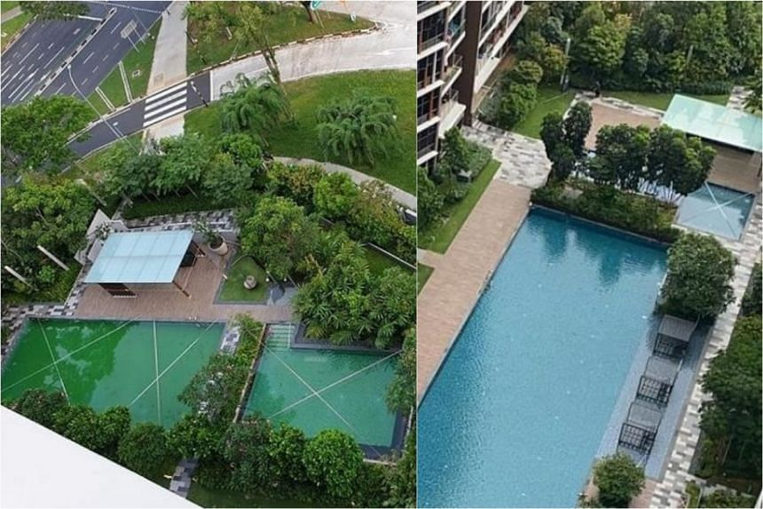 Photos of the swimming pools at Sims Urban Oasis condominium taken before it was cleaned on April 25 (left) and on April 30 after it was cleaned.