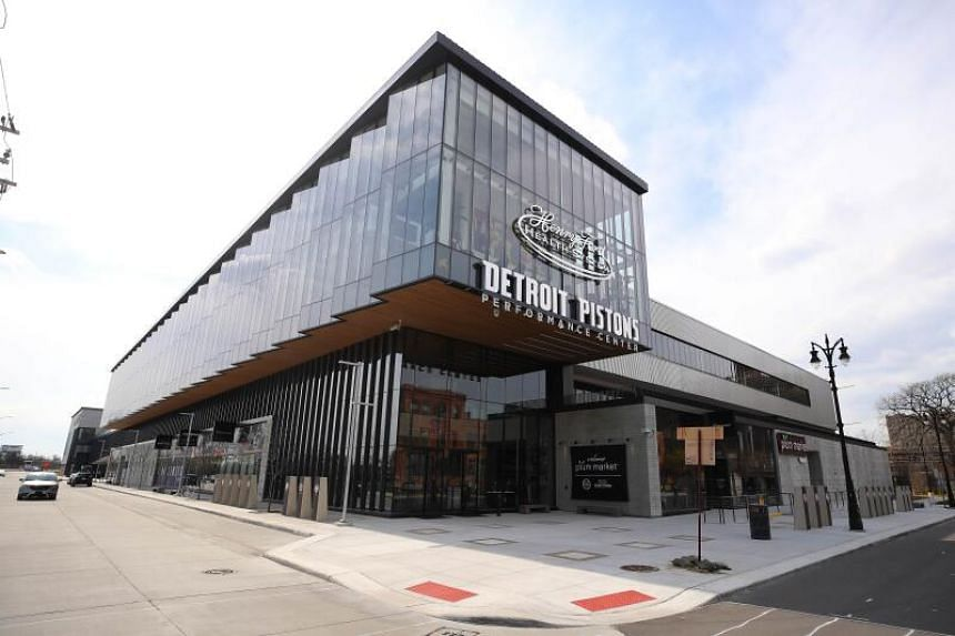 View of the Henry Ford Detroit Pistons Performance Center in Detroit, Michigan. The NBA recently announced the possibility of re-opening team practice facilities as early as May 8.