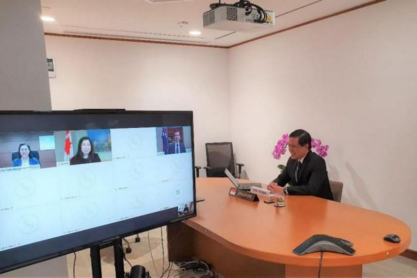 Minister for Trade and Industry Chan Chun Sing at the video conference with his four counterparts on May 1, 2020.