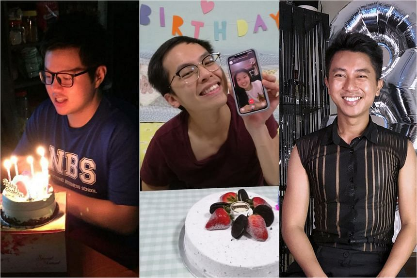 April babies (from left) Yue Kok Wai, Tan En Ying and Ridaudin Abdul Rasid were chipper about celebrating their birthdays indoors.