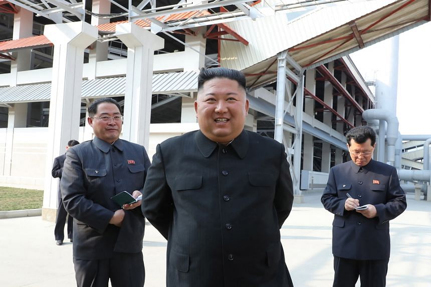 A photo showing North Korean leader Kim Jong Un attending a ceremony at a factory in Sunchon, North Korea, on May 1, 2020.