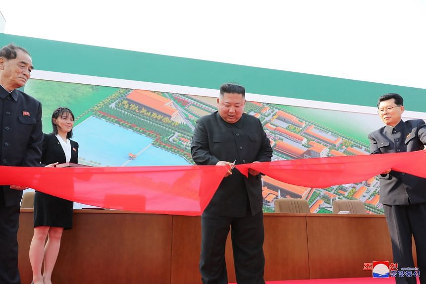 North Korean leader Kim Jong Un attends the completion of a fertiliser plant on May 1, 2020.