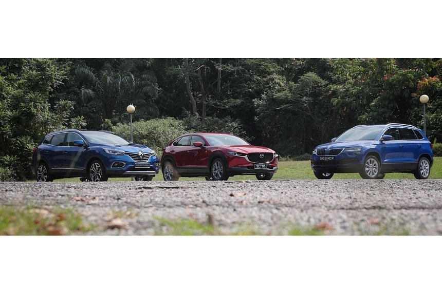 (Above from left) The Renault Kadjar, Mazda CX-30 and Skoda Karoq may not come to mind when shopping for a sport utility vehicle, but these cars are worth a second look.