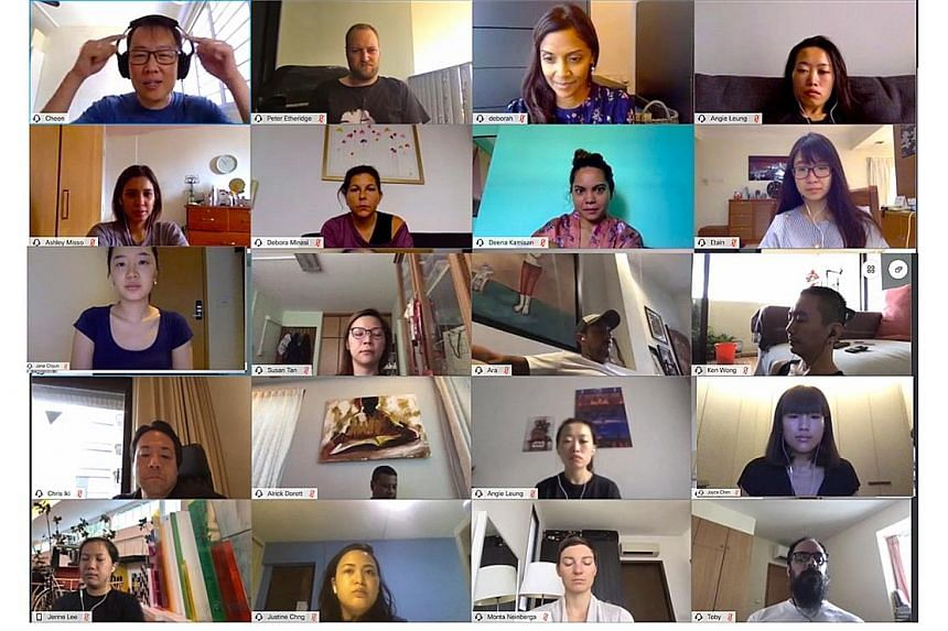 Employees of advertising agency TBWA Singapore meeting for a mindfulness class on video-conferencing platform WebEx.