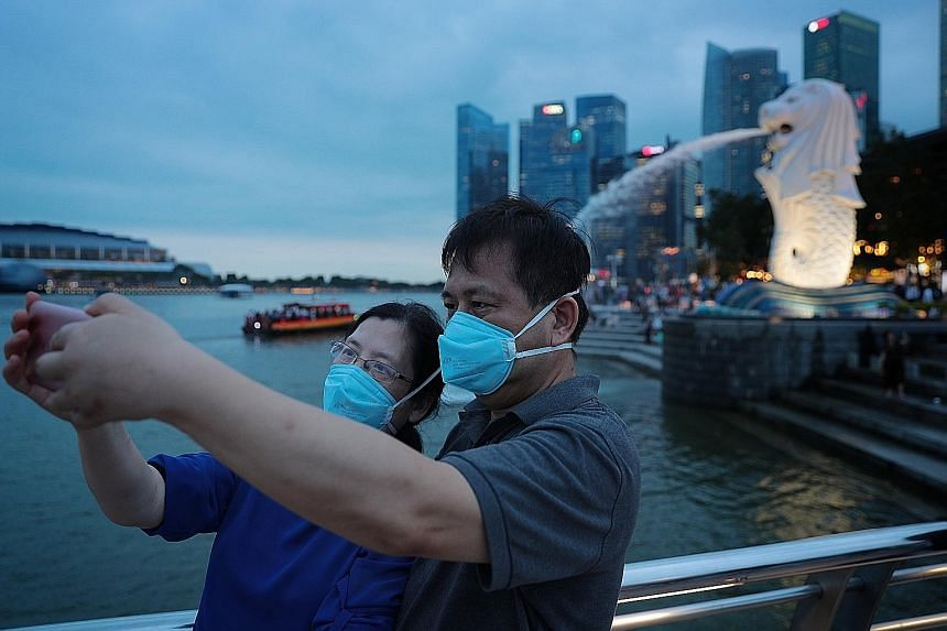 Tourists at Merlion Park in January. Travel curbs in various countries, including Singapore, have halted inbound and outbound travel, but Dynasty Travel believes the situation could improve as early as June.
