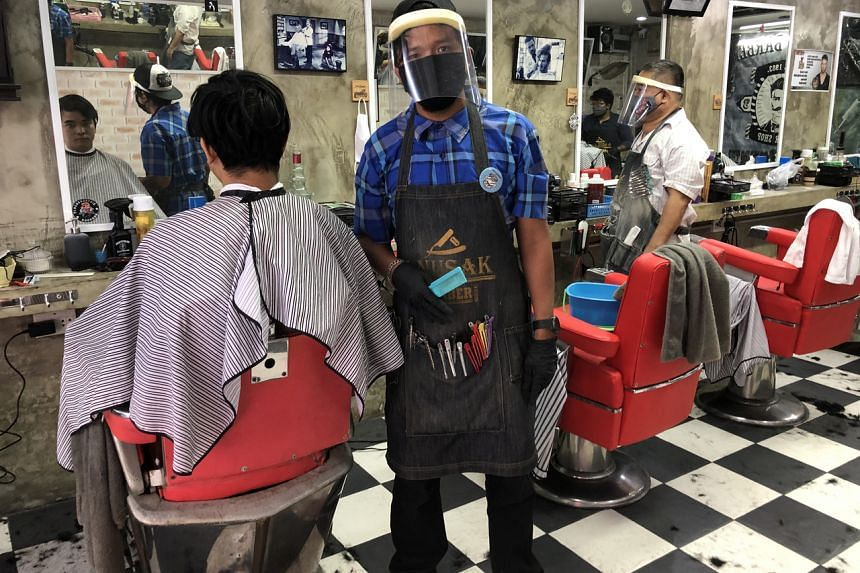 A barbershop in Bangkok on May 3, 2020.