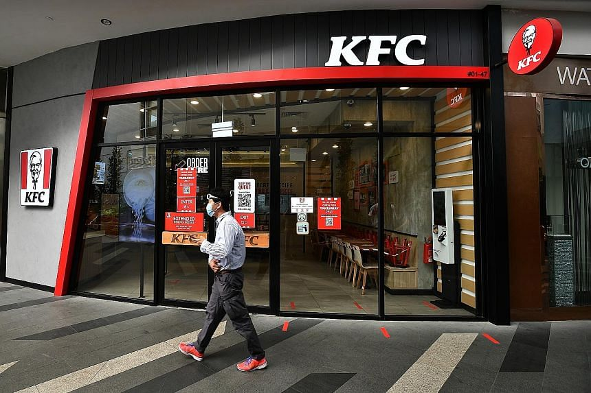 Restaurants across the island, like this KFC outlet at Tampines Mall, have stopped their dine-in services since the circuit breaker measures were introduced early last month.