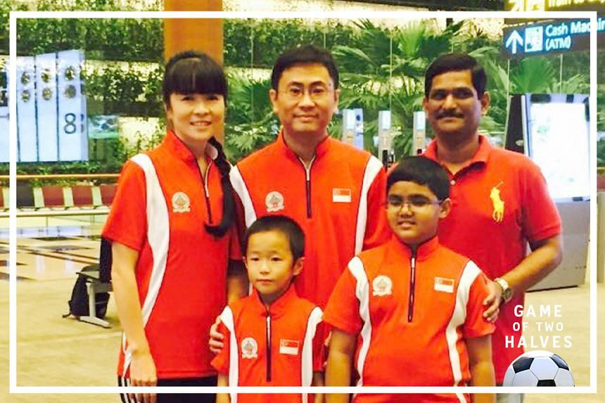 Singapore chess wunderkinds Goh Zi Han and Siddharth Jagadeesh, with their respective parents (back row, from left) Lo Li Wen and Goh Wee Lip, and Jagadeesh Balakrishnan.
