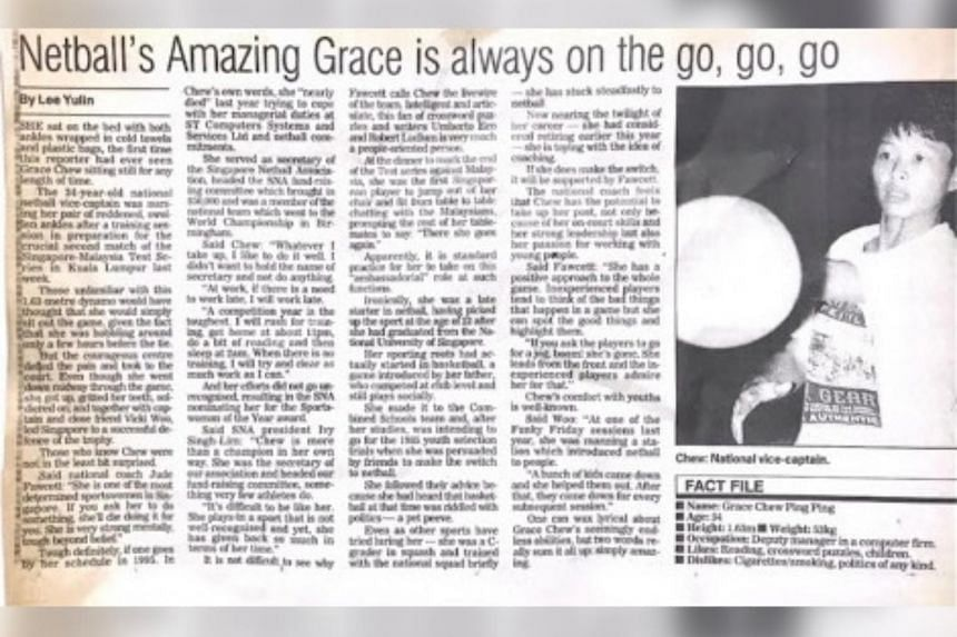 A clipping of an ST article on Chew in 1996.