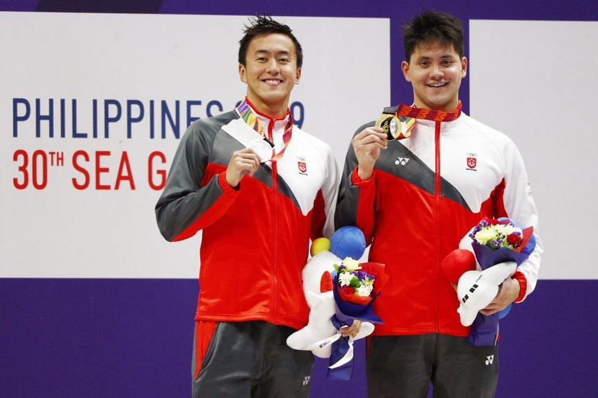 Olympic champion Joseph Schooling and teammate Quah Zheng Wen at the Sea Games on Dec 6, 2019.
