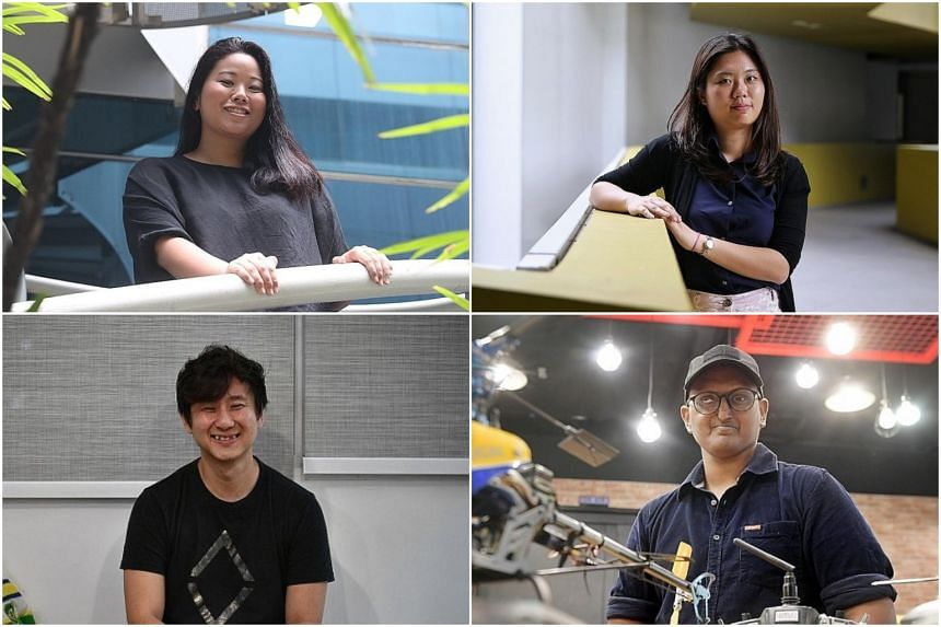 The winners of The Straits Times Generation Grit Award 2019 are (clockwise from top left) Ms Melissa Chan, Ms Law Mei Ting, Mr B. Kanesh and Mr Asher Low.