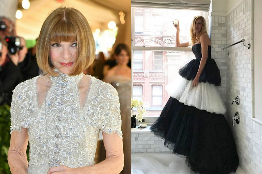 (Left) Vogue editor-in-chief Anna Wintour. (Right) Julia Roberts posted a photo of herself in a tulle gown.