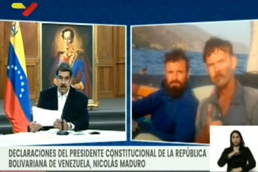 A video grab shows President Nicolas Maduro (left) and two men said to be Luke Denman and Airan Berry.