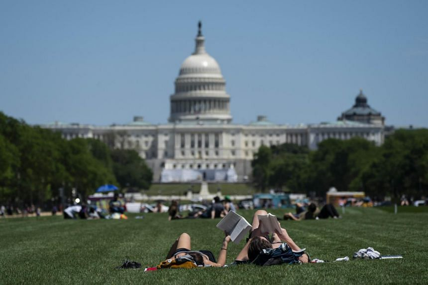 People spend time on the National Mall, on May 2, 2020 in Washington, DC.