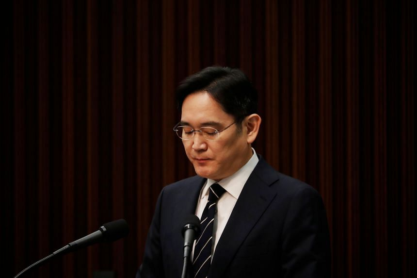 Samsung Vice-Chairman Lee Jae-yong speaks during a news conference in Seoul on May 6, 2020.