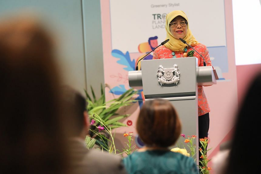 President Halimah Yacob speaking at the launch of the President's Challenge Enabling Employment Pledge on March 11, 2020.