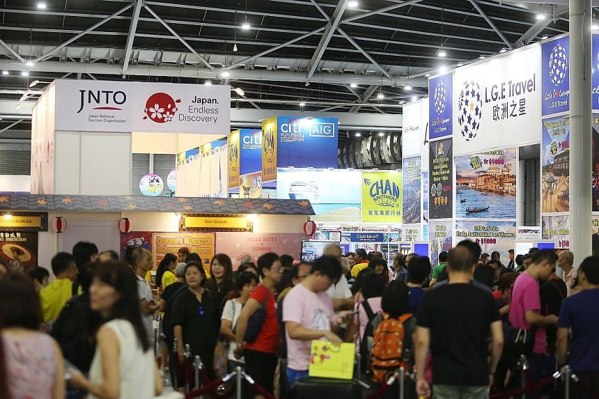 """Crowds at the Natas 2019 travel fair. It is different this year amid the Covid-19 pandemic, with one industry executive saying: """"Travelling now is too uncertain and for most, not essential."""""""