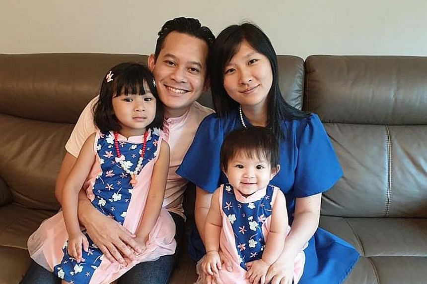 Mr Ryan Cheang, 34, with his wife Veronica Chow, 30, and daughters Natalia, two, and Renee, five. Mr Cheang, a division director at ERA Realty Network, began his journey to financial independence at the age of 14, working part-time at F&B outlets and reta