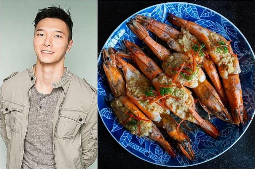Lennard Yeong's steamed garlic prawns.