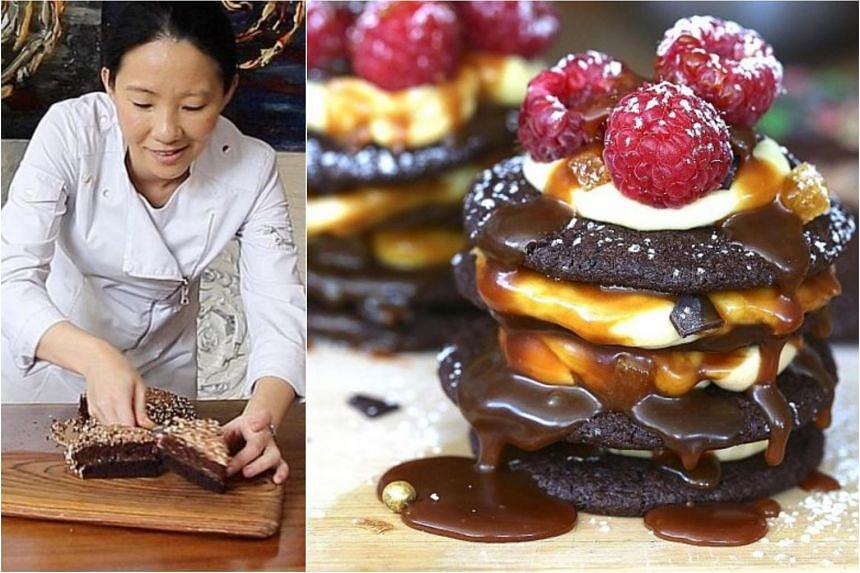 Janice Wong's salted caramel (above, drizzled over cookies with mousse and berries).