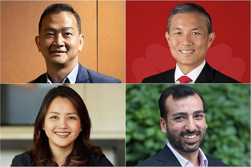 (Clockwise from top left) Singapore Fintech Association president Chia Hock Lai, DBS Bank consumer banking group head Jeremy Soo, OCBC Bank digital and innovation head Pranav Seth and UOB personal financial services head Jacquelyn Tan.