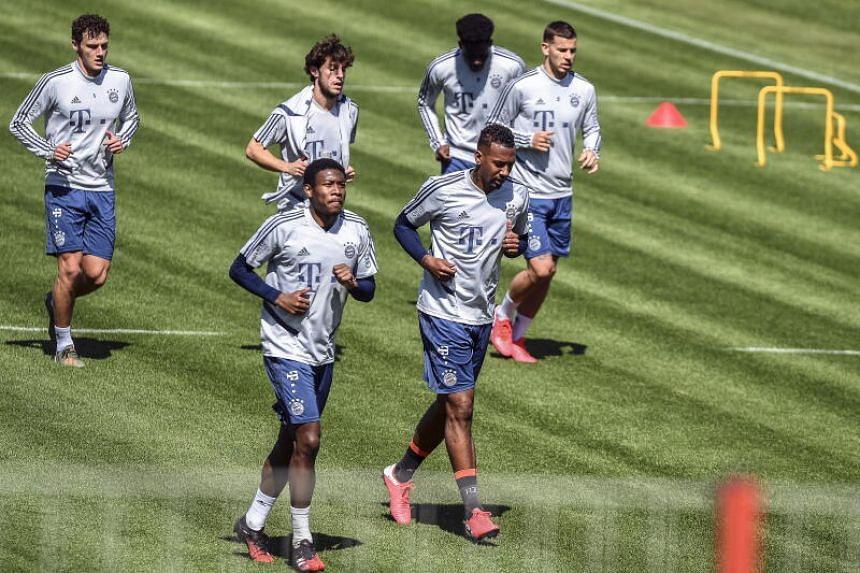 Bayern Munich players attend training on May 6, 2020.