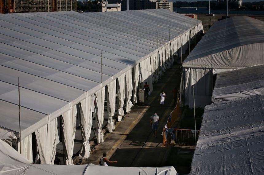 Workers at the Covid-19 facility at Tanjong Pagar Terminal on May 9, 2020.