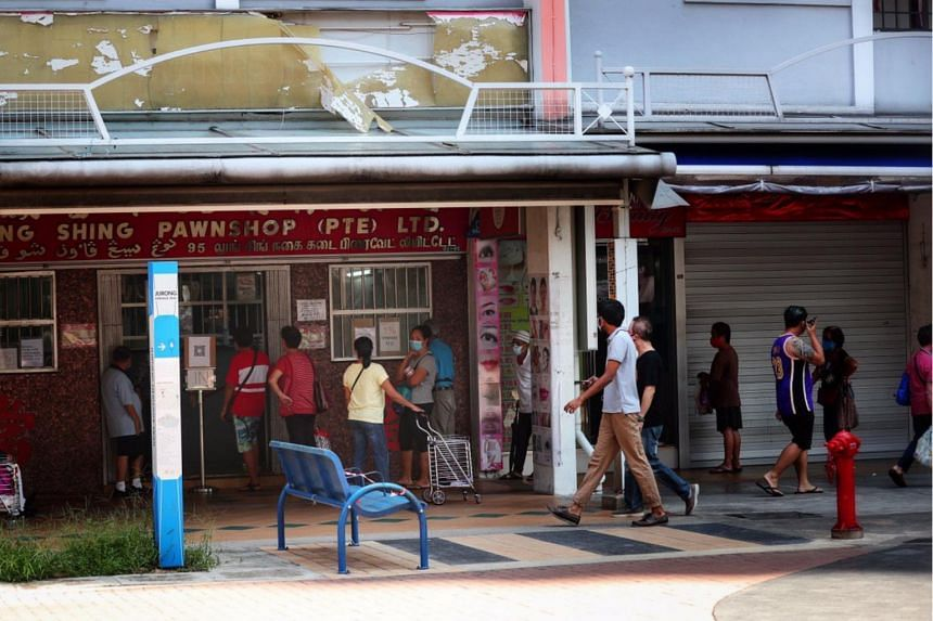 The queue outside a pawnshop in Clementi Town on May 12, 2020.